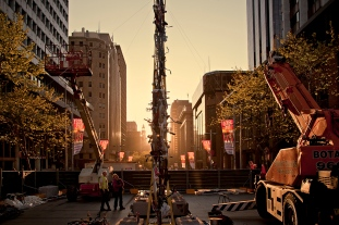 Construction at sunset, Martin place.